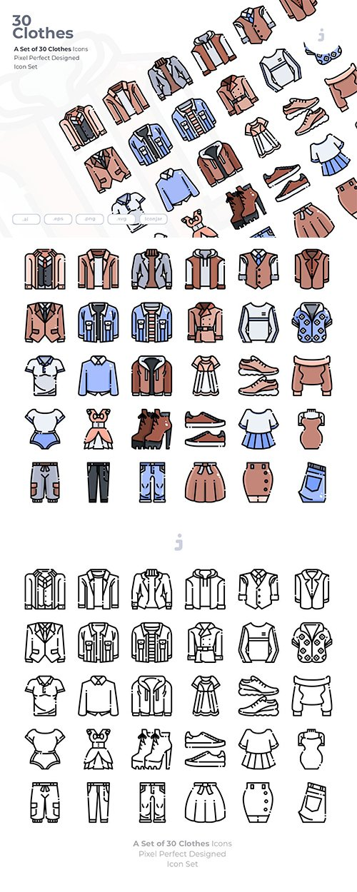 30 Clothes Vector Icons