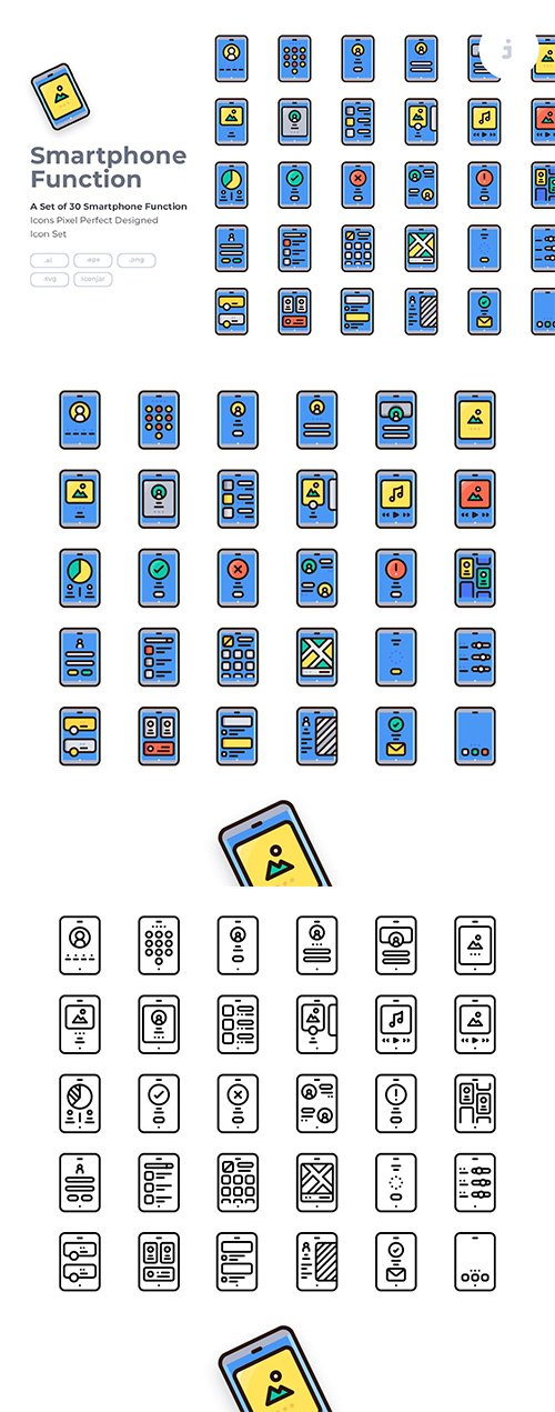 30 Mobile Function Icon Vector set - Detailed Round line