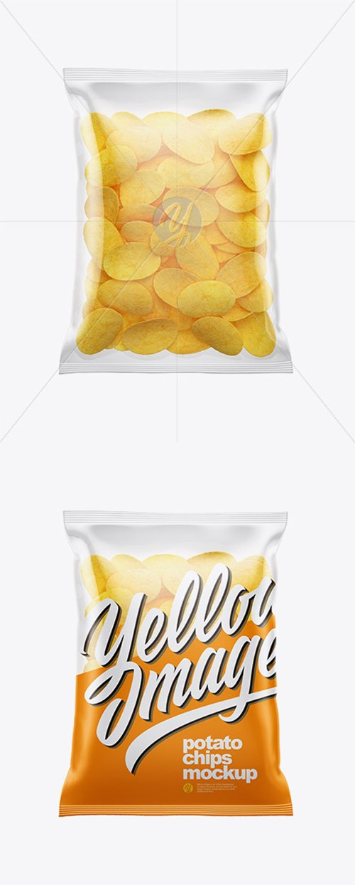 Clear Bag With Potato Chips Mockup 38510 TIF