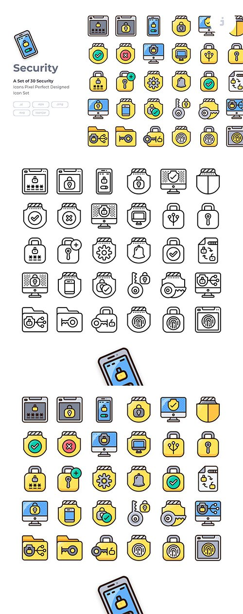 30 Security Icon Vector set - Detailed Round line