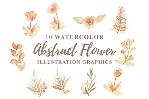 10 Watercolor Abstract Flower Illustration