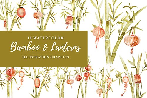 10 Watercolor Bamboo and Lanterns Illustration