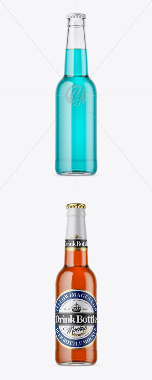 330ml Clear Glass Bottle With Drink Mockup 34574 TIF
