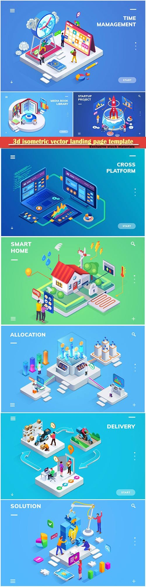 3d isometric vector landing page template # 3