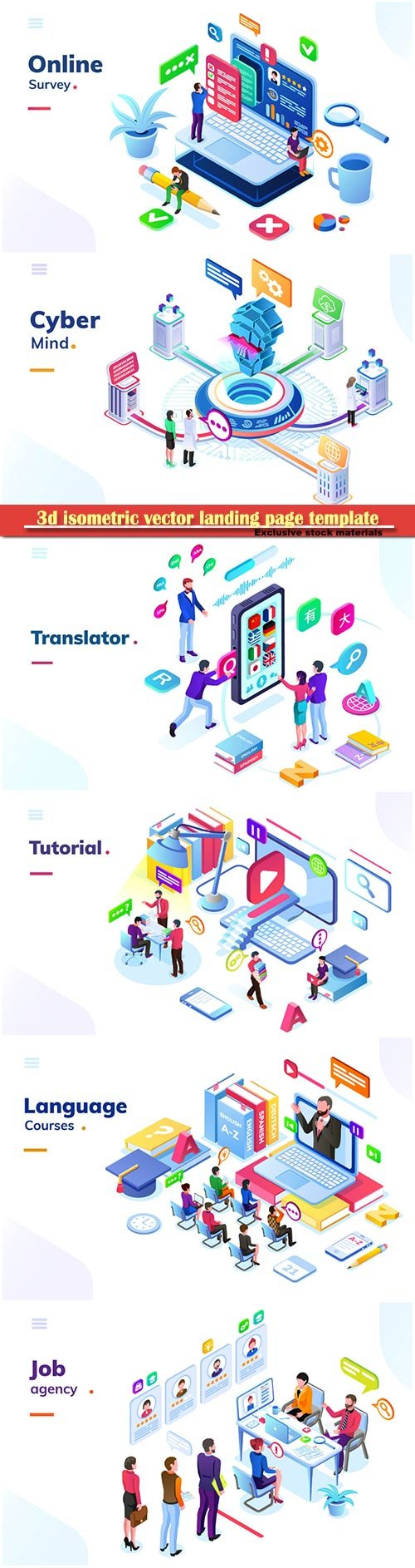 3d isometric vector landing page template # 5