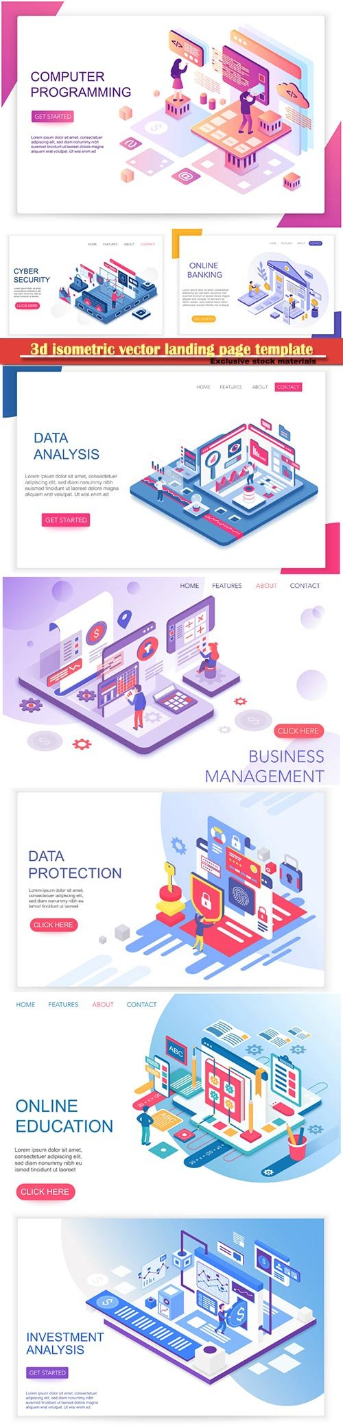 3d isometric vector landing page template
