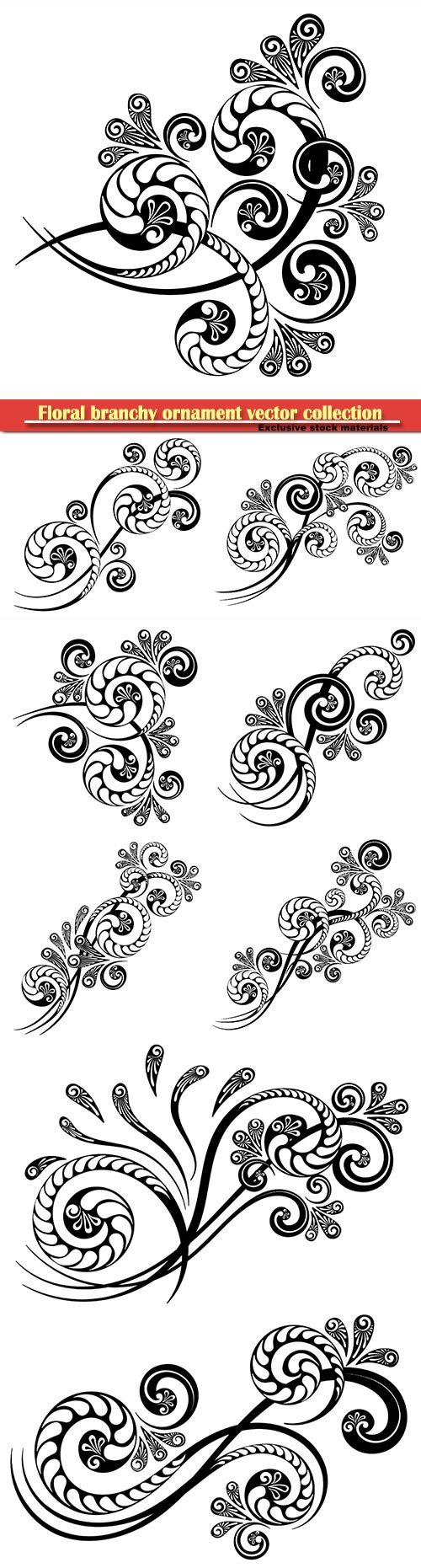 Floral branchy ornament with a beautiful complex pattern for decorative design of invitations, letters and greeting cards