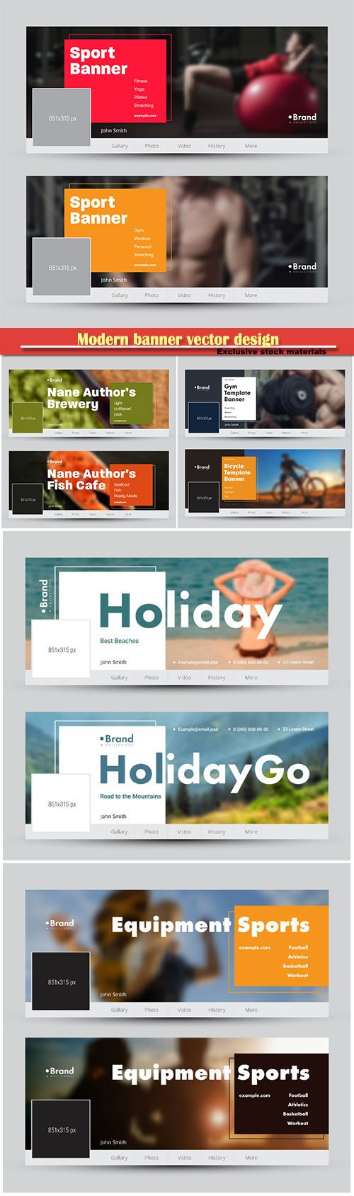 Modern banner vector design with space for photo