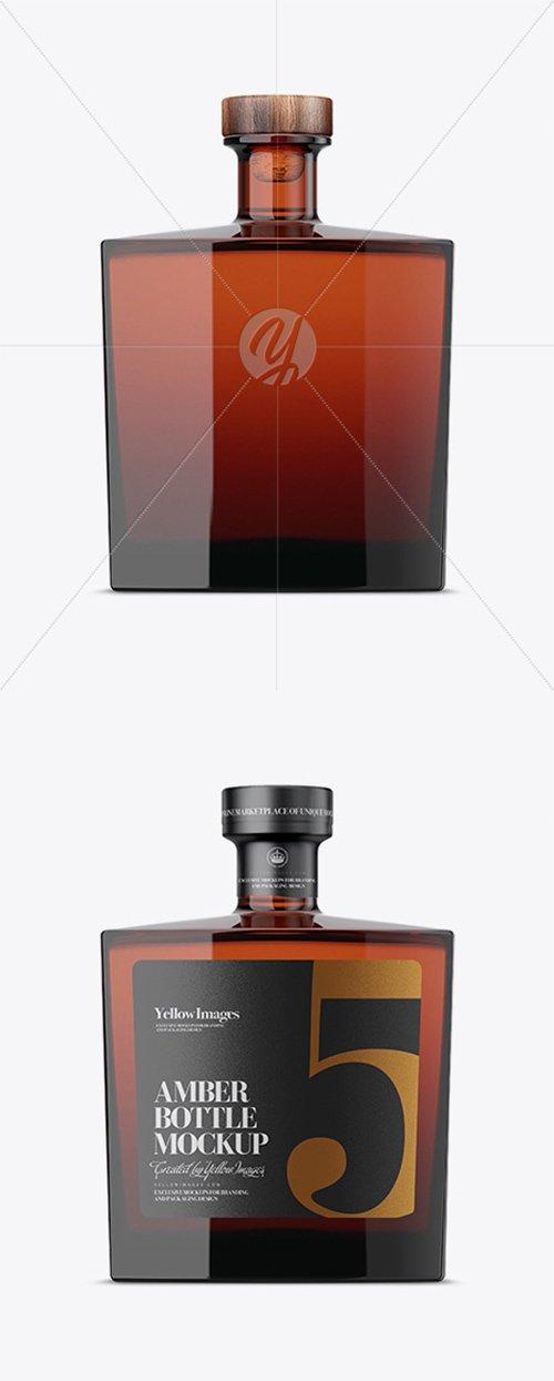 Square Amber Glass Bottle Mockup 34571 TIF