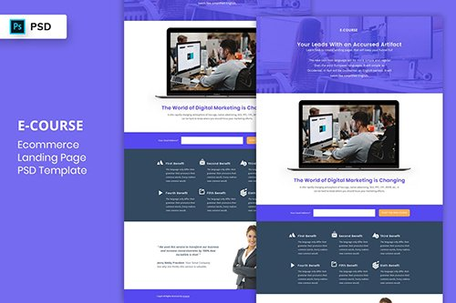 E-Course - Landing Page PSD Template