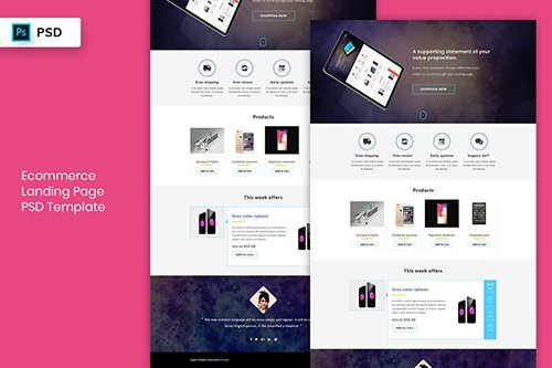 Ecommerce - Landing Page PSD Template