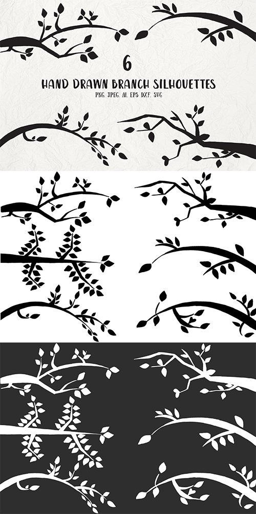 6 Hand Drawn Branch Vector Silhouettes