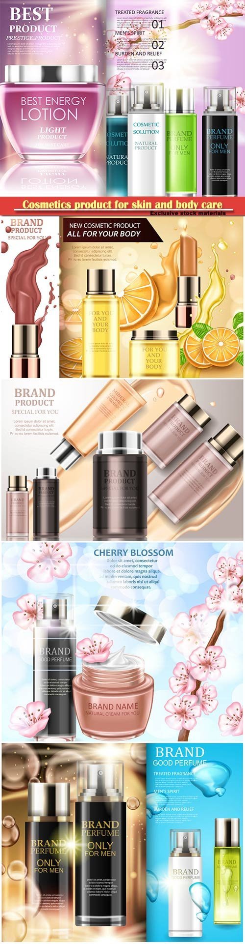 Cosmetics product for skin and body care, magazine for choosing cosmetic novelties