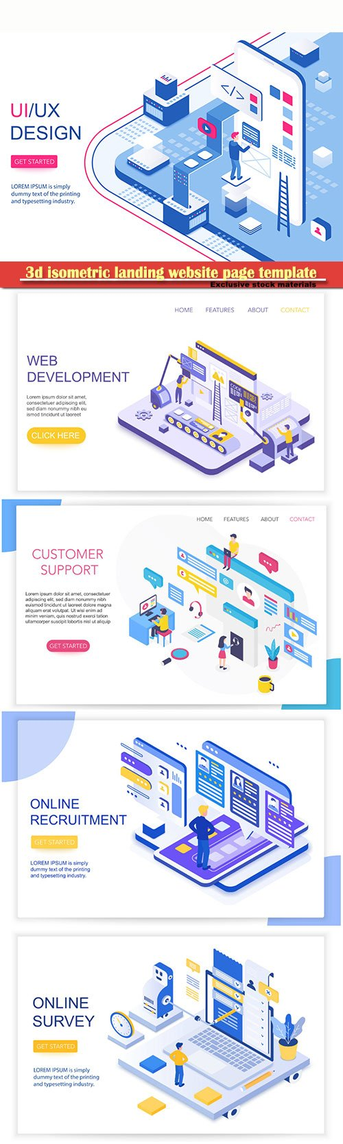 3d isometric landing website page template vector illustration