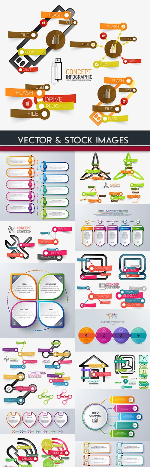 Business infographics options elements collection 70