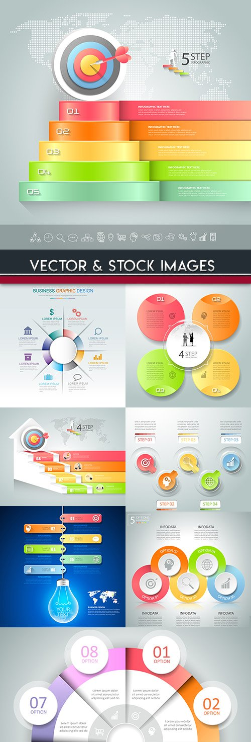 Business infographics options elements collection 71