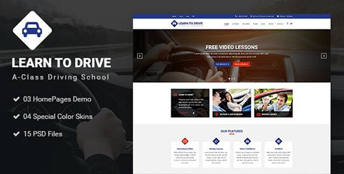 Driver - Learn to Drive, Driving School, Driving Lessons, Business & Services PSD Template 20255040