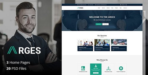 Arges Corporate - Business, Professional and Consulting Services PSD Template 21161589