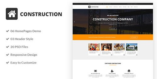 Construction - Construction & Building Business PSD Template 20178830