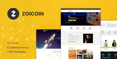Zoicoin - Bitcoin, ICO and Cryptocurrency PSD Template 21535646