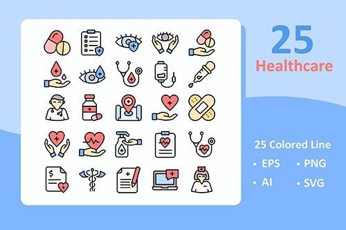 25 Healthcare Vector Icons ( Colored Line )