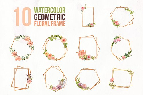 10 Watercolor Geometric Floral Frame Illustration