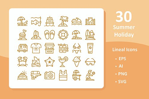 30 Summer Holiday Vector Icons ( Line )