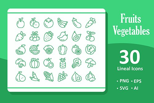 30 Fruits and Vegetables Vector Icons