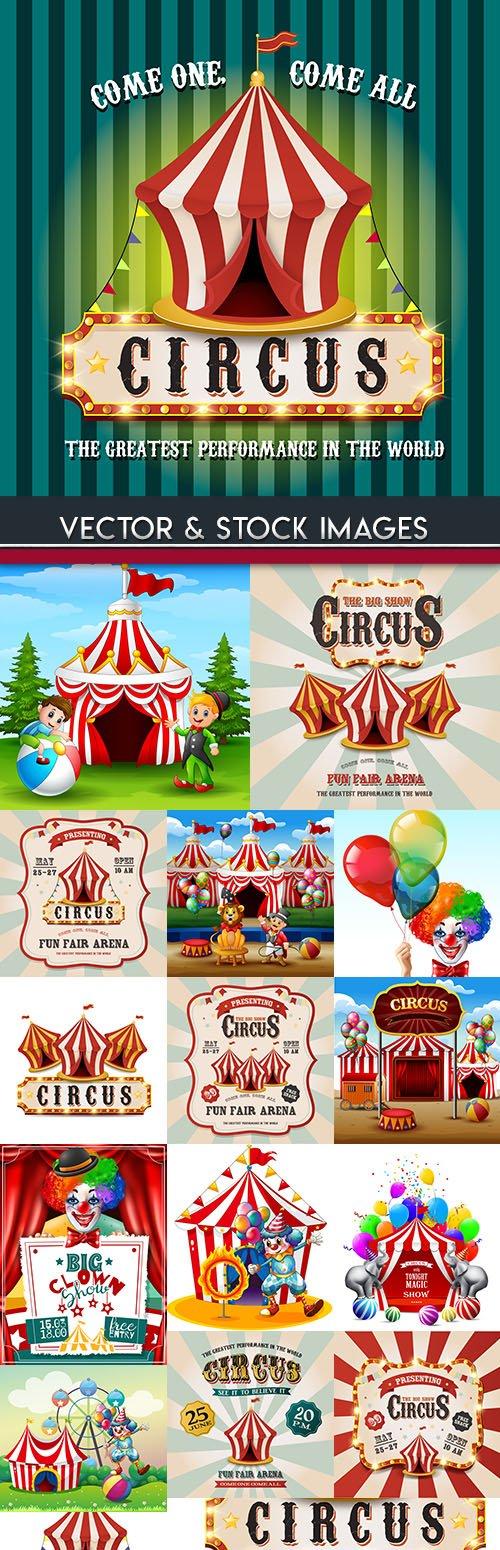 Circus invitation card and cheerful clown