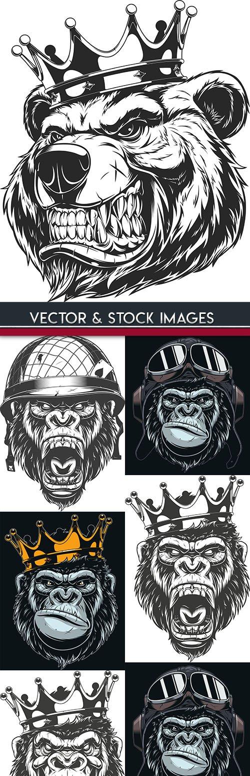 Gorilla wild animal king in crown mascot illustration