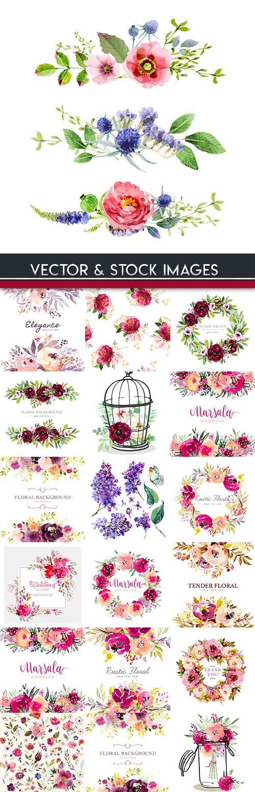 Watercolor drawings wedding invitation decorative 3