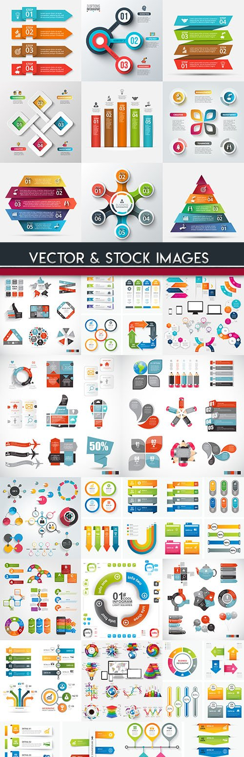 Business infographics options elements collection 72