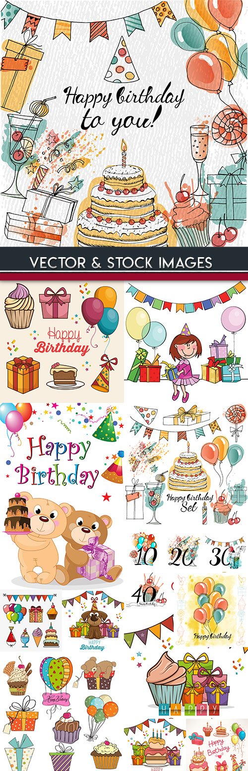 Happy birthday holiday invitation balloons and gifts 18