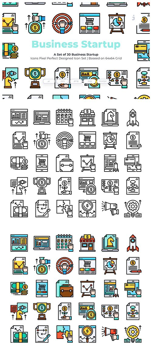 30 Business Startup Vector Icons