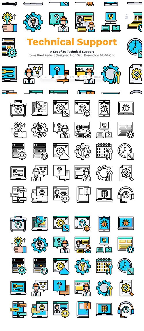 30 Technical Support Vector Icons