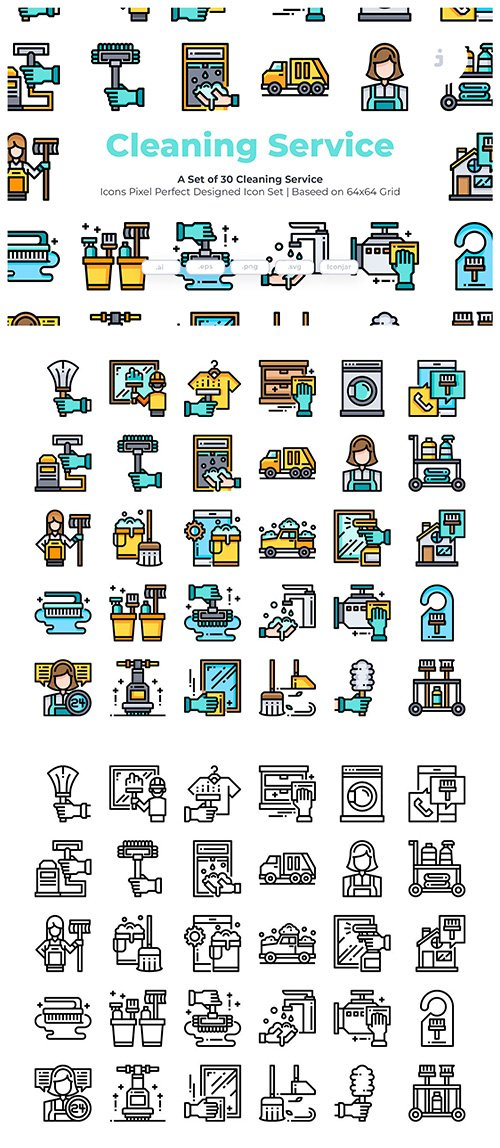 30 Cleaning Service Vector Icons