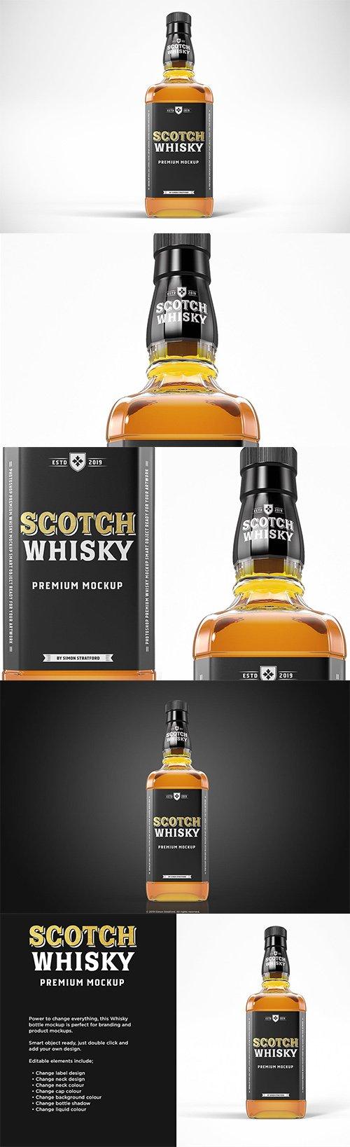Scotch Whisky Bottle PSD Mockup