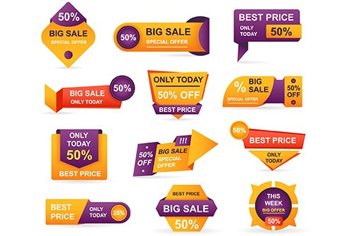 Retail Sale Tags Vector Stickers Best Offer