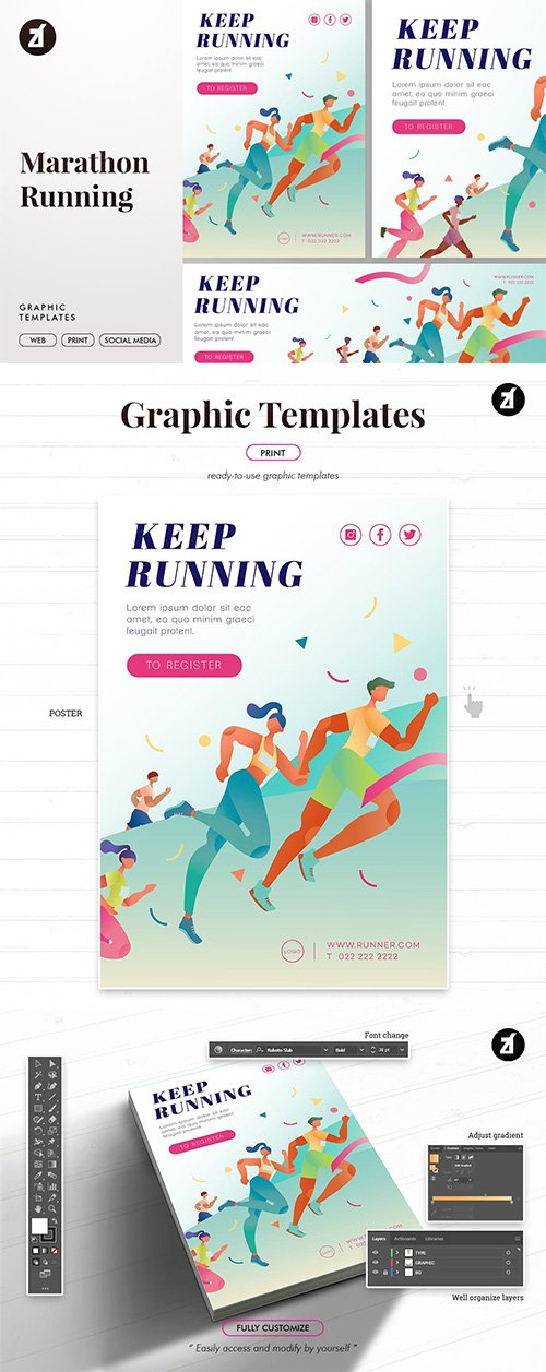 Marathon running graphic templates