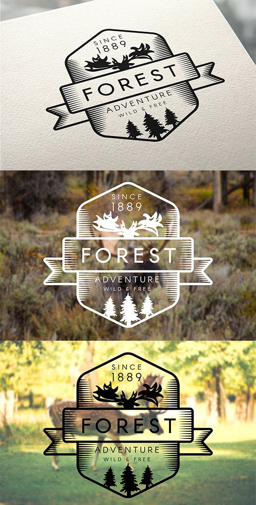 Vintage Forest Moose PSD and Vector Badge