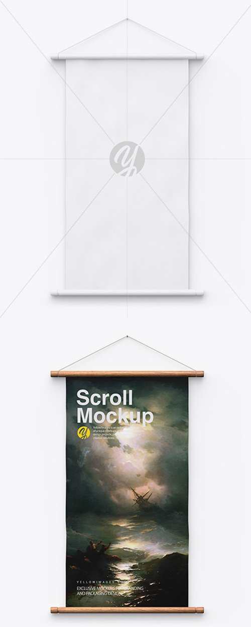 Scroll Mockup w/ Wooden Handles 43349 TIF