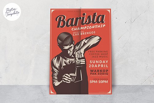 Barista Poster Design Vector Template