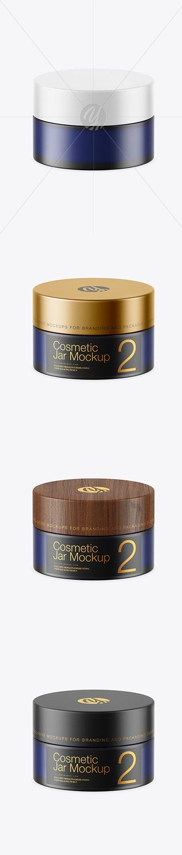 Dark Frosted Blue Glass Cosmetic Jar Mockup 45160 TIF