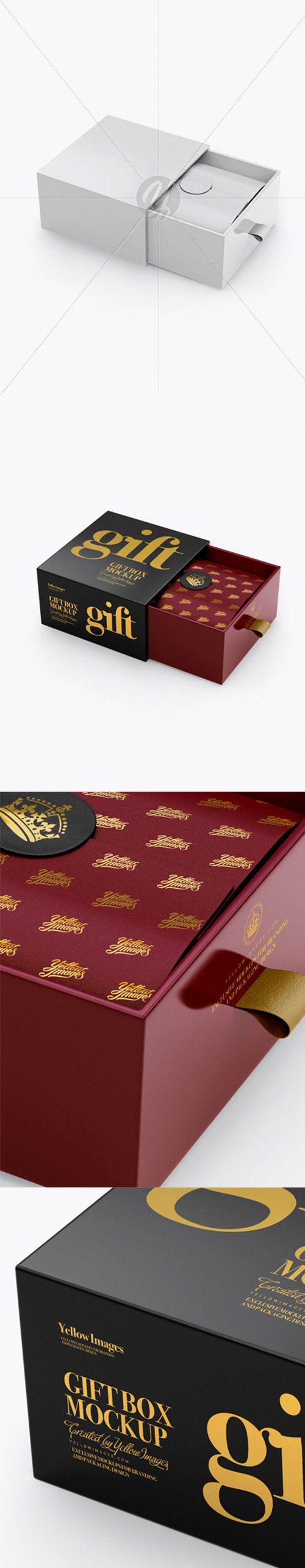 Opened Glossy Gift Box Mockup - Half Side View (High-Angle Shot) 22324 TIF