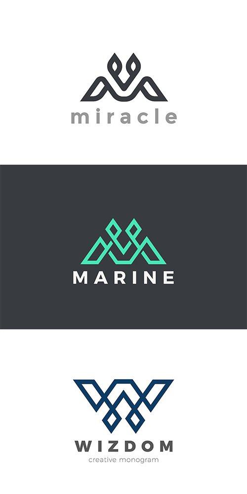 Letter Luxury Linear Design Style Logo Vector Set