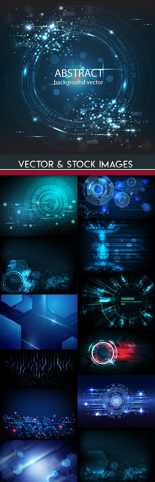 Technology digital abstract background blue 5