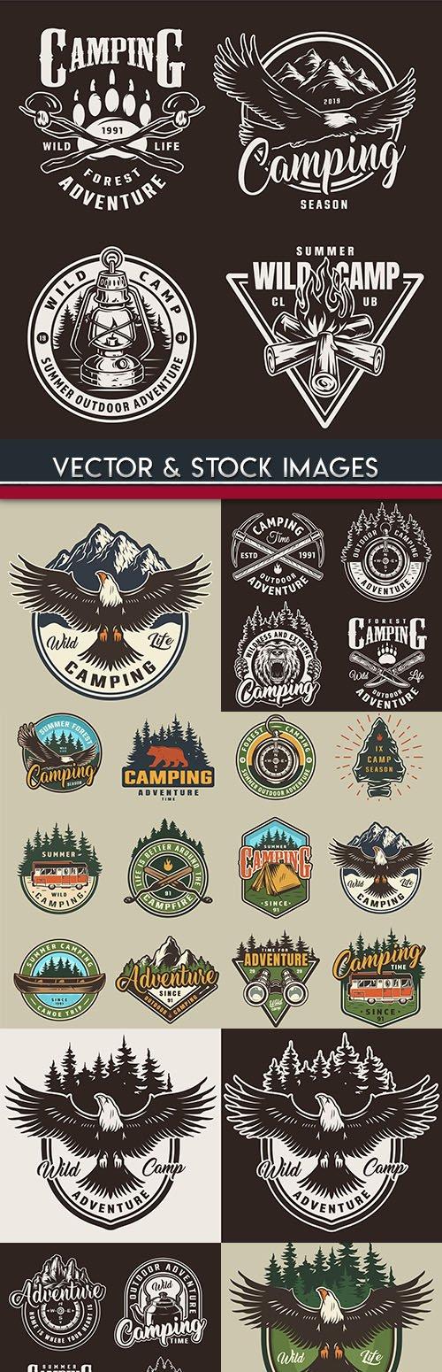 Camping summer and nature vintage label design 2