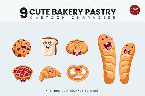9 Cute Bakery Pastry Illustration Vol.1