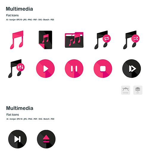 Multimedia Controls Flat Colored Vector Icons