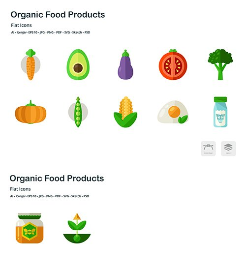 Organic Food Products Flat Colored Vector Icons
